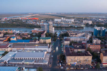 Budenovskiy prospect towards the Don river, central market, river station, aerial view