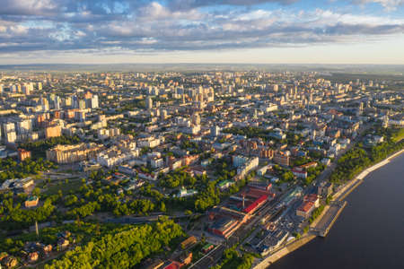 Perm, a large city of the Urals, the capital of the Perm Territory from a bird's eye view, drone photography.