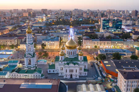Panoramic view of the central part of Rostov-on-Don. Central Market, Cathedral of the Nativity of the Blessed Virgin, drone aerial view Imagens - 157523098