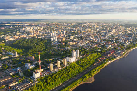 Top view of Perm, the mouth of the Kama River, Perm Territory. Aerial view, drone.