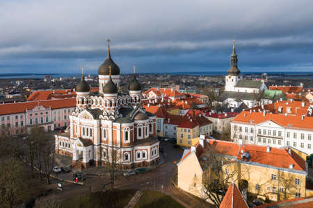 Aerial photo of beautiful old town of Tallinn, Estonia including Toompea, Alexander Nevsky Cathedral and St. Mary's Cathedral