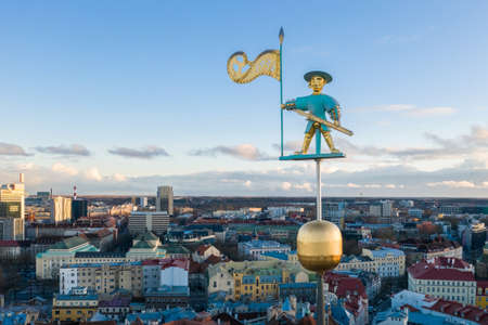 A weather vane figure of old warrior called Old Thomas, on top of the spire of Tallinn Town Hall. The symbol of the city was first installed in 1530.
