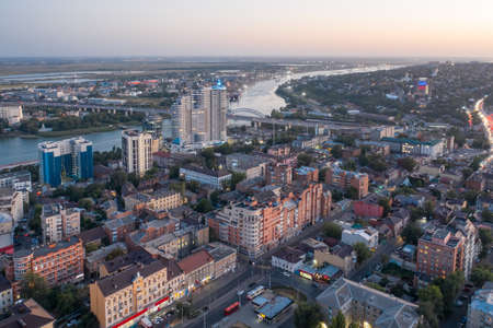 Evening panorama of Rostov-on-Don, view of the Don River and the central part of the city. Aerial view Imagens