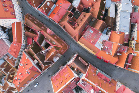 Bright colorful aerial shot of old town of Tallinn, Estonia. Beautiful roof tops. Imagens