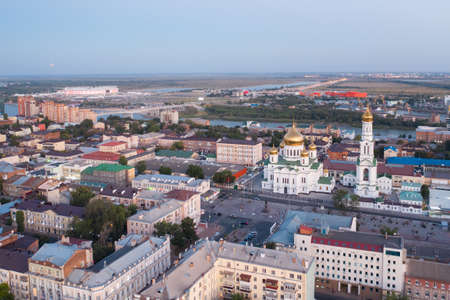 Cathedral of the Nativity of the Blessed Virgin, panoramic view of the central part of Rostov-on-Don, drone aerial view. Imagens - 157523208