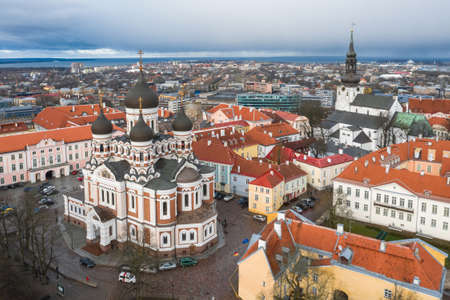 Aerial photo of beautiful old town of Tallinn, Estonia including Toompea, Alexander Nevsky Cathedral Imagens