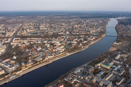 View from a great height to the center of the city of Pskov and the Velikaya River.