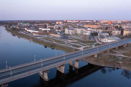 Drone view of the Olginsky bridge in Pskov at sunrise