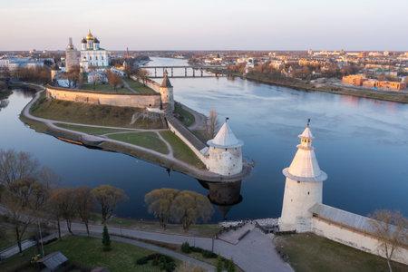 Bird eye view of the Pskov Kremlin and Trinity Cathedral. Sunrise.