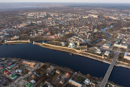 Aerial view to the central part of Pskov. The Great River and the main attractions.