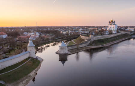 View of the Pskov Kremlin and the Trinity Cathedral at dawn. Pskov, Russia