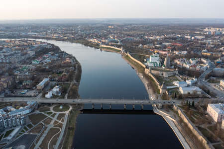 Aerial view of the central part of Pskov, welcome to Russia, the tourist center of the Russian city.