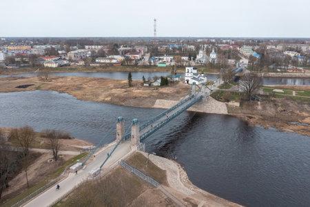 Unique chain bridge in the town of Ostrov, Pskov region. Tourist center of regional Russia.