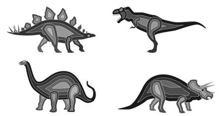 stegosaurus: Vector Dinosaur Set Illustration