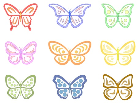 Papillons abstraits. Un ensemble de 9 papillons. Style = Clean. Couleurs Pastel =. Banque d'images - 12471023