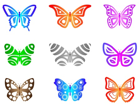 Butterflies Abstract.  A set of 9 Butterflies. Style = Abstract  Clean.