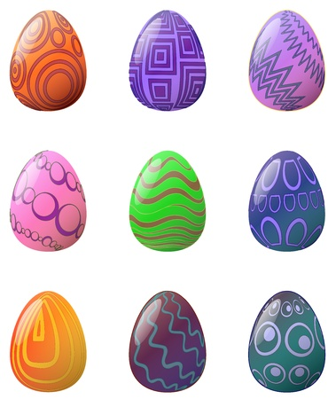 A set of 9 Easter Eggs  Style = Abstract   Illustration