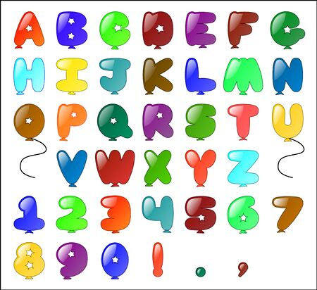 Balloon themed Alphabet  including numbers and some punctuation