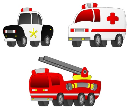 response: A set of 3 Rescue Vehicles (Fire Engine, Ambulance, Police Car).