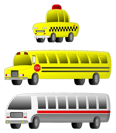 fare: A set of 3 transportation vehicles (Taxi, School Bus and City Bus).