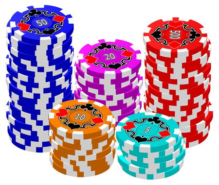 wager: A set of stacked Poker Chips. Illustration