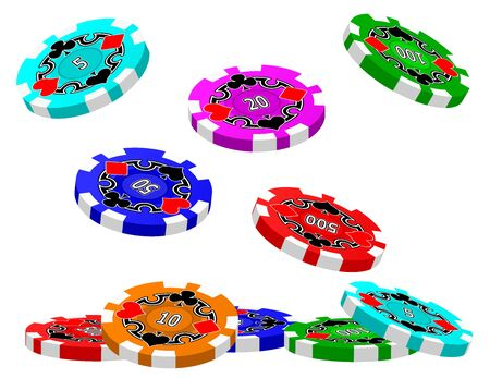 wager: A set of Tumbling Poker Chips.