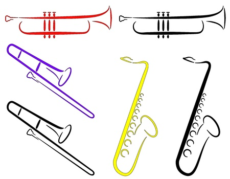 wind instrument: Musical Instruments - Abstract. (Vector)