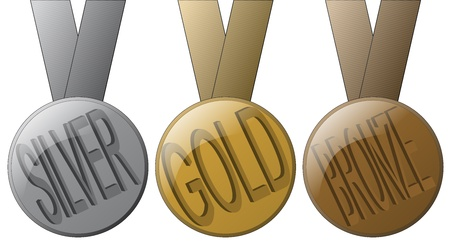 gold silver bronze: 3 Medals - Gold, Silver and Bronze.