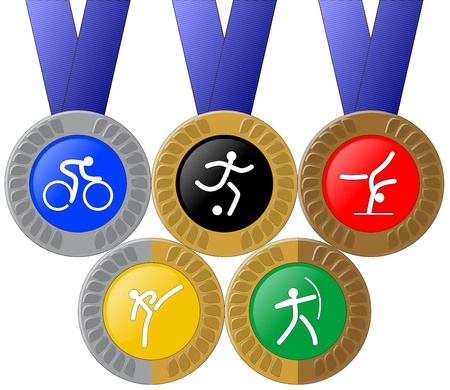 Medals and Rings (Olympic Themed) Vector