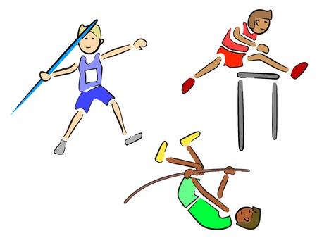 選手 (陸上) - 投げ槍、ハードルおよび棒高跳び  イラスト・ベクター素材