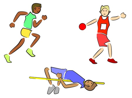 Athletes (Track and Field) - Sprinter/Runner, Discus, High Jump Illustration