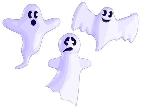 Een set van 3 Ghosts. Stock Illustratie