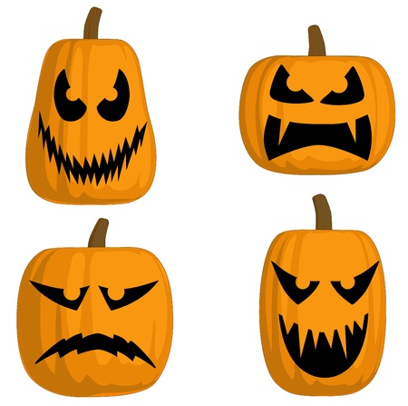 A set of 4 Jack O Lanterns (Scary)