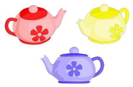chinese tea pot: A set of 3 tea pots.