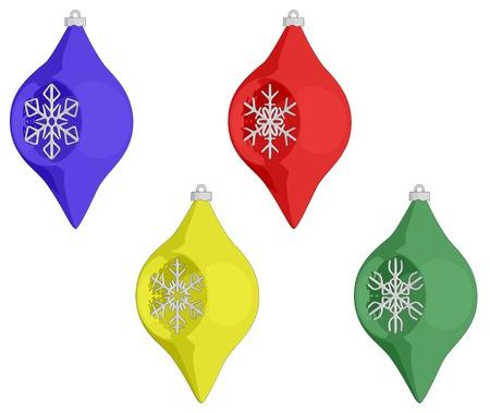 A set of Christmas Balls - Oval shaped.