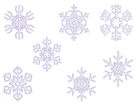A set of 7 SnowFlakes Stock Vector - 16536578