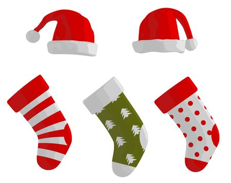 christmas sock: Christmas Stockings and Hats Illustration