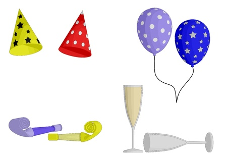 party: Party Favors - hats, balloons, horns and Champagne glasses Illustration