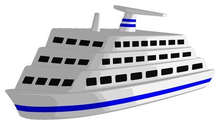 크루즈 선박은 흰색 배경에 고립입니다. 일러스트