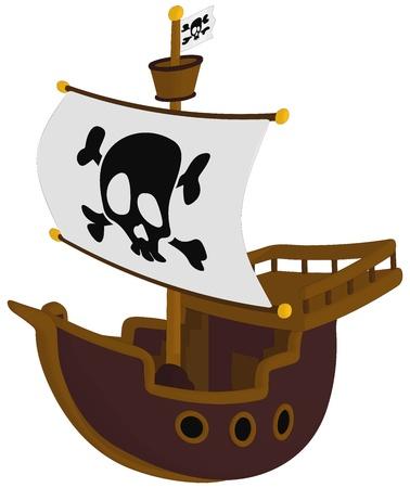 Piratenschip geïsoleerd op een witte achtergrond. Stock Illustratie