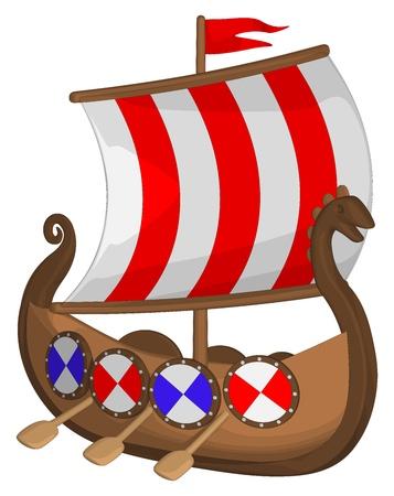 Viking Ship isolated on a white background. Illustration