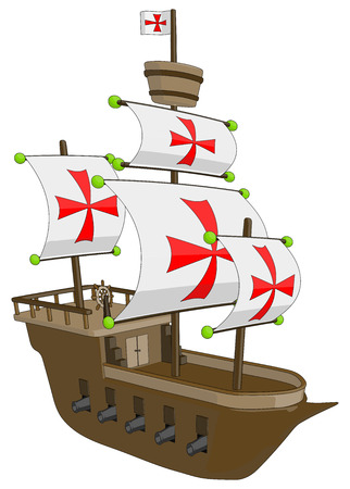 frigate: Old Ship - Frigate Galleon -  Vector Artwork  isolated on white background   Illustration