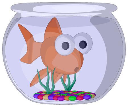 Fish Bowl -  Vector Artwork  isolated on white background   Illusztráció