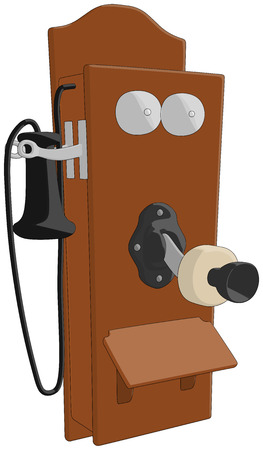 Telephone  Old  -  Vector Artwork  isolated on white background   Illustration