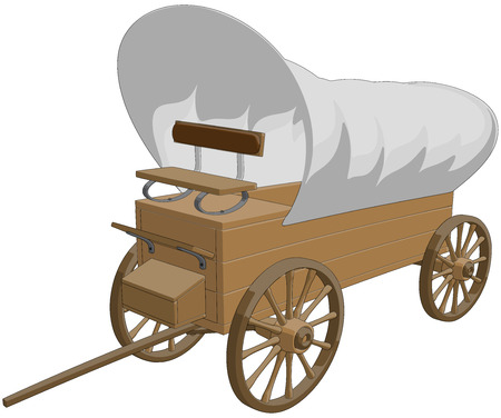 old west: Covered Wagon -  Vector Artwork  isolated on white background