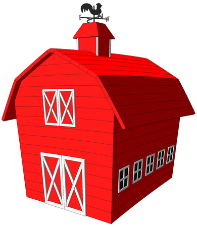 Barn -  Vector Artwork  isolated on white background   Çizim
