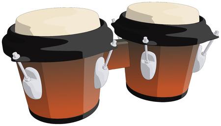 bongo drum: Bongo Drums -  Vector Artwork  isolated on white background   Illustration