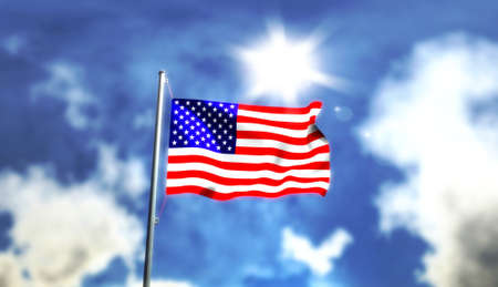 Image of the flag of U.S.A. with clouds and sun in the background