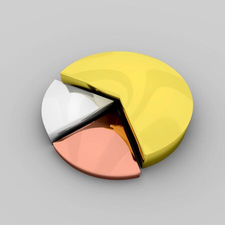 3D image of a gold, silver and bronze pie chart  photo