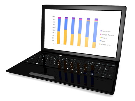 3D image of a laptop with a graph on the screen isolated on a white background photo
